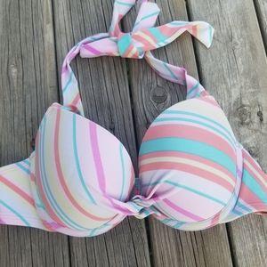 Aerie striped bikini top